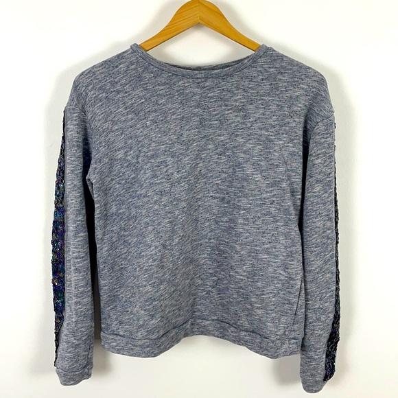 ✨3/$25✨George Heather Blue Sequin Sleeve Sweat Top